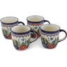 12 oz Stoneware Set of 4 Mugs - Polmedia Polish Pottery H0631L