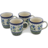 12 oz Stoneware Set of 4 Mugs - Polmedia Polish Pottery H0632L