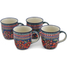 12 oz Stoneware Set of 4 Mugs - Polmedia Polish Pottery H0633L