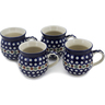 12 oz Stoneware Set of 4 Mugs - Polmedia Polish Pottery H0644L