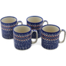 12 oz Stoneware Set of 4 Mugs - Polmedia Polish Pottery H0658L
