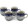 12 oz Stoneware Set of 4 Mugs - Polmedia Polish Pottery H0761L