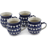 12 oz Stoneware Set of 4 Mugs - Polmedia Polish Pottery H0765L