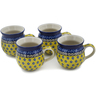 12 oz Stoneware Set of 4 Mugs - Polmedia Polish Pottery H0766L