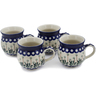 12 oz Stoneware Set of 4 Mugs - Polmedia Polish Pottery H0769L