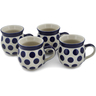 12 oz Stoneware Set of 4 Mugs - Polmedia Polish Pottery H0771L