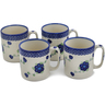 12 oz Stoneware Set of 4 Mugs - Polmedia Polish Pottery H0780L