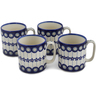 12 oz Stoneware Set of 4 Mugs - Polmedia Polish Pottery H0783L