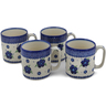12 oz Stoneware Set of 4 Mugs - Polmedia Polish Pottery H0784L
