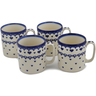 12 oz Stoneware Set of 4 Mugs - Polmedia Polish Pottery H0786L