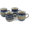 12 oz Stoneware Set of 4 Mugs - Polmedia Polish Pottery H0793L