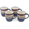 12 oz Stoneware Set of 4 Mugs - Polmedia Polish Pottery H1251L