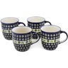 12 oz Stoneware Set of 4 Mugs - Polmedia Polish Pottery H1252L