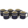 12 oz Stoneware Set of 6 Mugs - Polmedia Polish Pottery H0003K