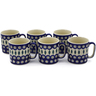12 oz Stoneware Set of 6 Mugs - Polmedia Polish Pottery H0004K