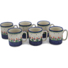 12 oz Stoneware Set of 6 Mugs - Polmedia Polish Pottery H0621L