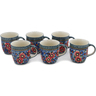 12 oz Stoneware Set of 6 Mugs - Polmedia Polish Pottery H0634L