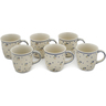 12 oz Stoneware Set of 6 Mugs - Polmedia Polish Pottery H0636L