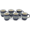 12 oz Stoneware Set of 6 Mugs - Polmedia Polish Pottery H0637L