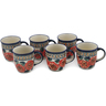 12 oz Stoneware Set of 6 Mugs - Polmedia Polish Pottery H0638L