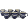 12 oz Stoneware Set of 6 Mugs - Polmedia Polish Pottery H0639L