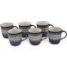 12 oz Stoneware Set of 6 Mugs - Polmedia Polish Pottery H0640L
