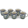 12 oz Stoneware Set of 6 Mugs - Polmedia Polish Pottery H0642L