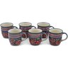 12 oz Stoneware Set of 6 Mugs - Polmedia Polish Pottery H0643L