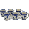 12 oz Stoneware Set of 6 Mugs - Polmedia Polish Pottery H0752L