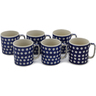 12 oz Stoneware Set of 6 Mugs - Polmedia Polish Pottery H0754L