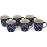 12 oz Stoneware Set of 6 Mugs - Polmedia Polish Pottery H0755L