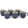 12 oz Stoneware Set of 6 Mugs - Polmedia Polish Pottery H0757L