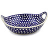 13-inch Stoneware Bowl with Handles - Polmedia Polish Pottery H6383J