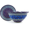 13-inch Stoneware Colander with Plate - Polmedia Polish Pottery H5727G