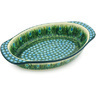 13-inch Stoneware Oval Baker with Handles - Polmedia Polish Pottery H3233G