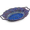 13-inch Stoneware Platter with Handles - Polmedia Polish Pottery H4568G