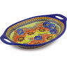 13-inch Stoneware Platter with Handles - Polmedia Polish Pottery H5342F