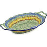 13-inch Stoneware Platter with Handles - Polmedia Polish Pottery H5496E