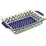 13-inch Stoneware Rectangular Baker with Handles - Polmedia Polish Pottery H5504G