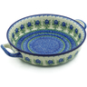 13-inch Stoneware Round Baker with Handles - Polmedia Polish Pottery H0069B