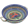 13-inch Stoneware Round Baker with Handles - Polmedia Polish Pottery H1523L