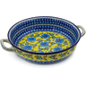 13-inch Stoneware Round Baker with Handles - Polmedia Polish Pottery H2033K