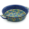 13-inch Stoneware Round Baker with Handles - Polmedia Polish Pottery H2901C