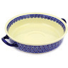 13-inch Stoneware Round Baker with Handles - Polmedia Polish Pottery H2972D