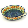 13-inch Stoneware Round Baker with Handles - Polmedia Polish Pottery H4677D