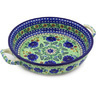 13-inch Stoneware Round Baker with Handles - Polmedia Polish Pottery H6301F