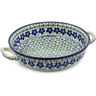 13-inch Stoneware Round Baker with Handles - Polmedia Polish Pottery H7172A
