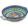 13-inch Stoneware Round Baker with Handles - Polmedia Polish Pottery H7174A