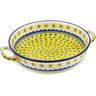 13-inch Stoneware Round Baker with Handles - Polmedia Polish Pottery H7357B