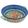 13-inch Stoneware Round Baker with Handles - Polmedia Polish Pottery H8500G